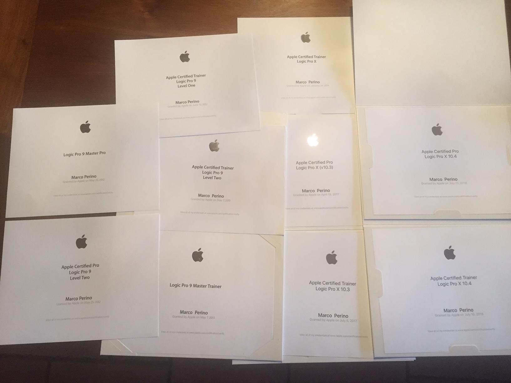 Certificazioni Apple Logic Pro